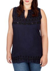 Lucky Brand Plus Sleeveless Embellished Top Blue