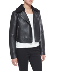 T By Alexander Wang Leather Moto Jacket With Shearling Fur Collar