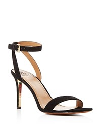 Tory Burch Elana Suede Ankle Strap High Heel Sandals Black