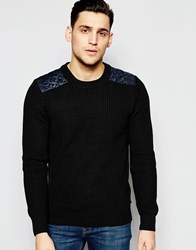 Scotch And Soda Crewneck Pullover With Quilted Satin Woven Shoulder Parts Grey