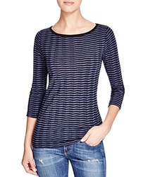Three Dots Chevron Stripe Tee Navy Black