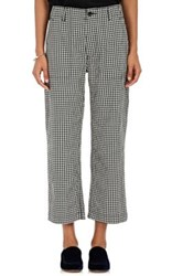 Comme Des Garcons Tricot Women's Gingham Cotton Wool Crop Pants Black