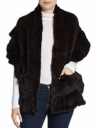 Saks Fifth Avenue Black Knitted Mink Fur Shawl Brown