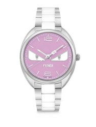 Fendi Momento Bug Diamond Stainless Steel And White Ceramic Bracelet Watch Pink