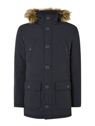 Criminal Marvin Fleece Lined Parka Coat Navy