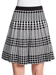 Saks Fifth Avenue Black Flared Knit Grid Skirt Black Bleach