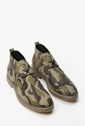 Forever 21 Camo Lace Up Chukkas Black Green
