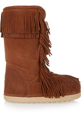 Aquazzura Boho Karlie Shearling Lined Fringed Suede Boots