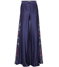 Etro Embroidered Satin Trousers Blue
