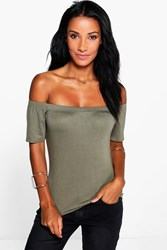 Boohoo Off The Shoulder T Shirt Khaki