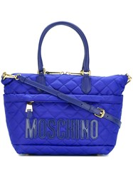 Moschino Quilted Logo Tote Blue