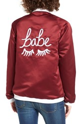 The Babe Collection Women's Style Club Bomber Jacket Maroon White