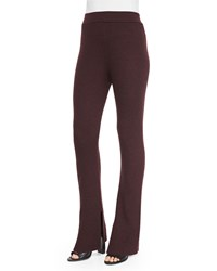 Iro Shipp Ribbed Knit Flare Pants Burgundy Red Women's
