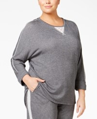 Karen Neuburger Plus Size Lace Inset Pajama Sweatshirt Heather Charcoal