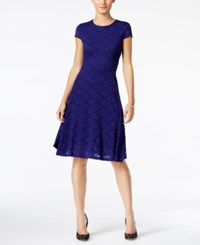 Alfani Petite Lace Fit And Flare Dress Only At Macy's Alf French Plum