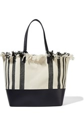 Loeffler Randall Fringed Canvas And Leather Tote Black