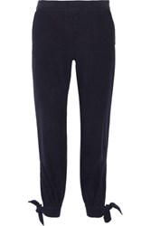 Enza Costa Knotted Silk Noil Tapered Pants Midnight Blue