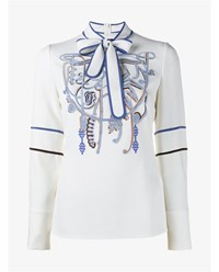 Peter Pilotto Floral Embroidered Shirt With Neck Tie Blue Bronze Silver Black White
