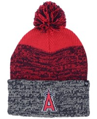 47 Brand '47 Los Angeles Angels On Anaheim Static Pom Knit Hat Red Navy Gray Heather