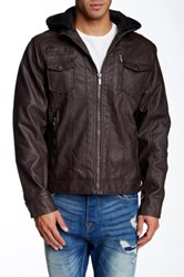 X Ray Hooded Faux Leather Jacket Brown