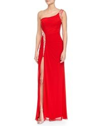 La Femme Beaded One Shoulder Gown Red