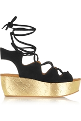 See By Chloe Liane Metallic Cork And Suede Wedge Sandals