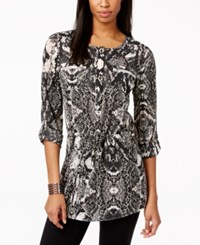 Inc International Concepts Printed Zipper Pocket Button Front Tunic Top Only At Macy's