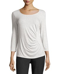 Lafayette 148 New York Petite Eclipse 3 4 Sleeve Ruched Top Ice Melange