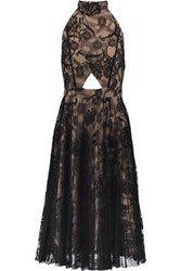 Alexis Georgie Embroidered Lace Cut Out Dress Black