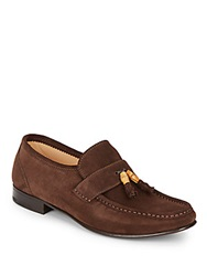 Massimo Matteo Bamboo Tassel Suede Loafers Brown