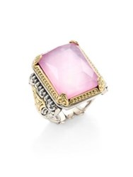 Konstantino Iliada Pink Mother Of Pearl Quartz Doublet 18K Yellow Gold And Sterling Silver Rectangle Ring Violet