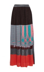 Missoni High Rise Colorblock Stripe Maxi Skirt Black Grey Red