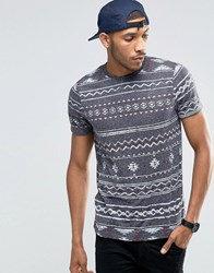Asos T Shirt With All Over Aztec Print In Textured Fabric Grey