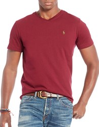 Polo Ralph Lauren Relaxed Fit V Neck T Shirt Classic Wine