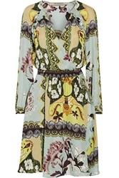 Etro Wrap Effect Printed Silk Crepe De Chine Dress