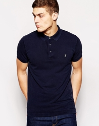 French Connection Washed Pique Polo Shirt Navy