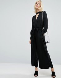 Fashion Union Wide Leg Trousers With Paper Bag Tie Waist Black
