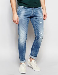 Replay Jeans Thyber Slim Fit Light Wash Rip Repair Detail Blue