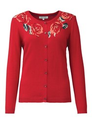 Tulchan Placed Rose Cardigan Red