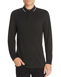 Fred Perry Twin Tipped Long Sleeve Slim Fit Polo Shirt Hunting Green Black Oxford White Black