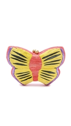 Serpui Marie Embroidered Butterfly Clutch