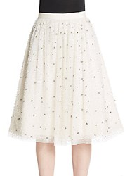 Alice Olivia Catrina Embellished Midi Skirt Cream
