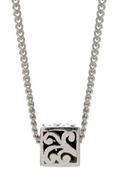 Lois Hill Sterling Silver Signature Cutout Baby Block Pendant Necklace Metallic