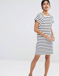 Selected Natali Dress In Striped Jersey White Navy Multi