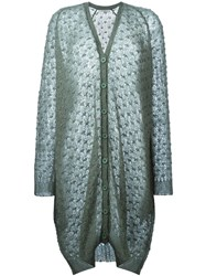 Mes Demoiselles Oversized Cardigan With Glitter Details Green