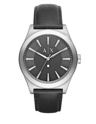 Armani Exchange Nico Diamond Stainless Steel Leather Strap Watch Black