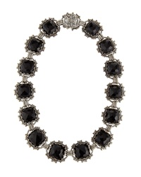 Konstantino Carved Silver And Onyx Collar Necklace Black