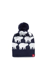 Perfect Moment 'Multi Bear' Intarsia Merino Wool Blend Pompom Beanie Blue