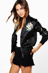 Mia Floral Embroidered Lightweight Satin Bomber