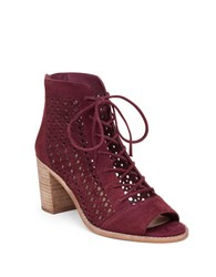 Vince Camuto Trevan Perforated Block Heel Suede Ankle Boots Dark Red